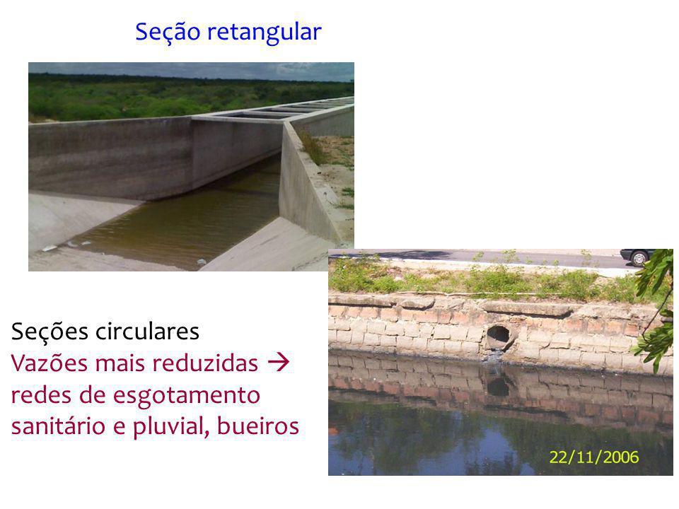 Seção retangular Seções circulares.