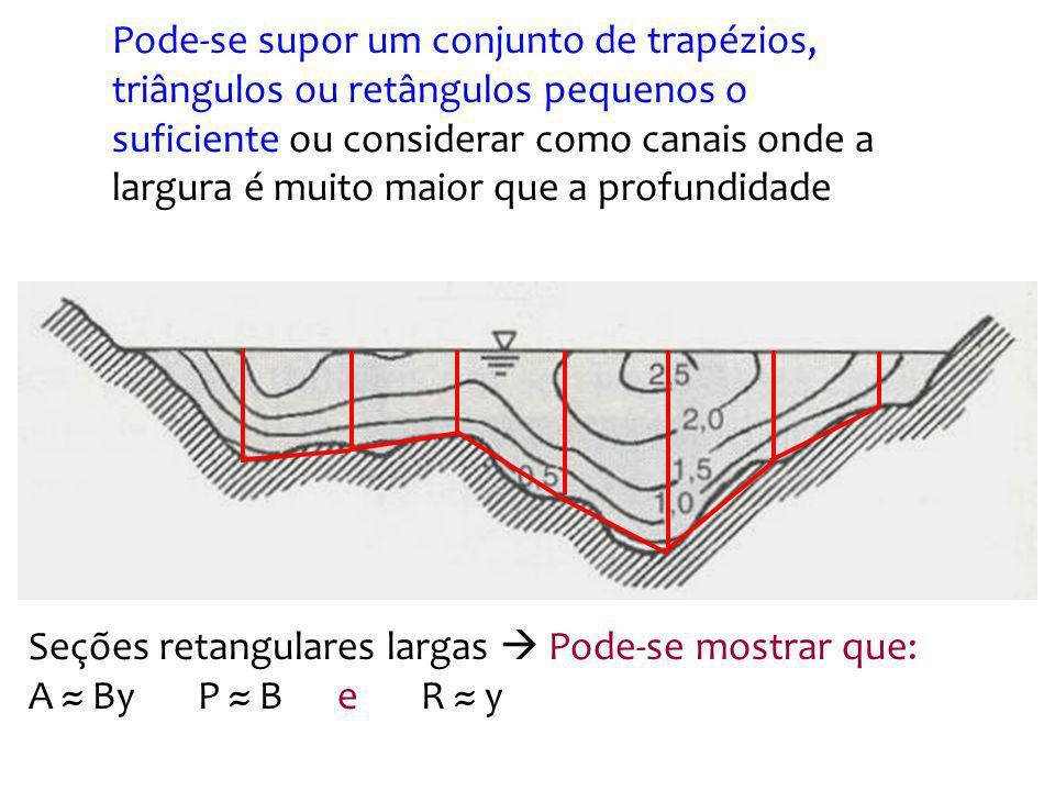 Pode-se supor um conjunto de trapézios, triângulos ou retângulos pequenos o suficiente ou considerar como canais onde a largura é muito maior que a profundidade