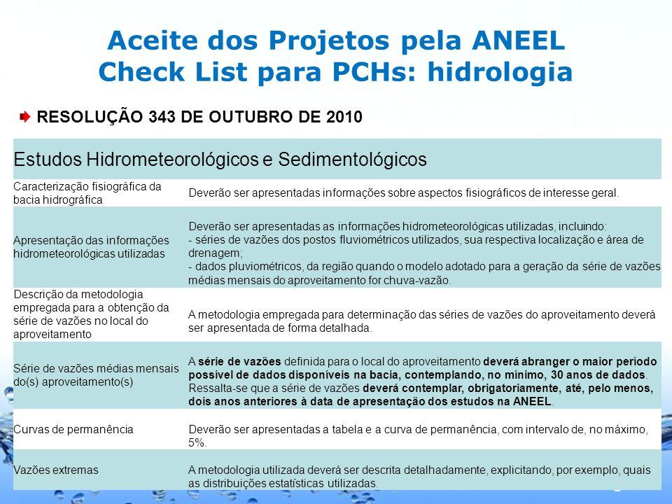 Aceite dos Projetos pela ANEEL Check List para PCHs: hidrologia