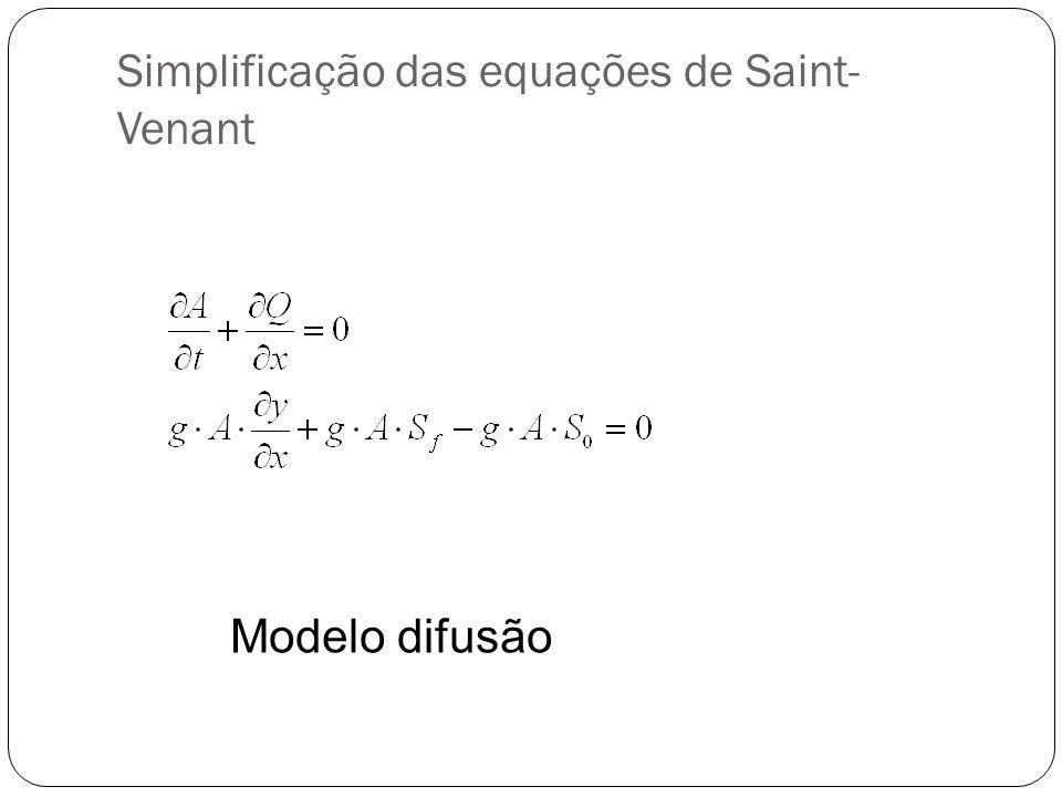 Simplificação das equações de Saint-Venant