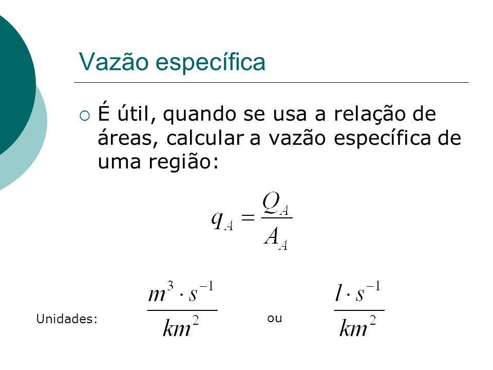 Vazão específica É útil, quando se usa a relação de áreas, calcular a vazão específica de uma região:
