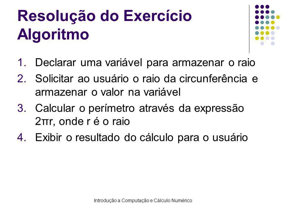 Resolução do Exercício Algoritmo