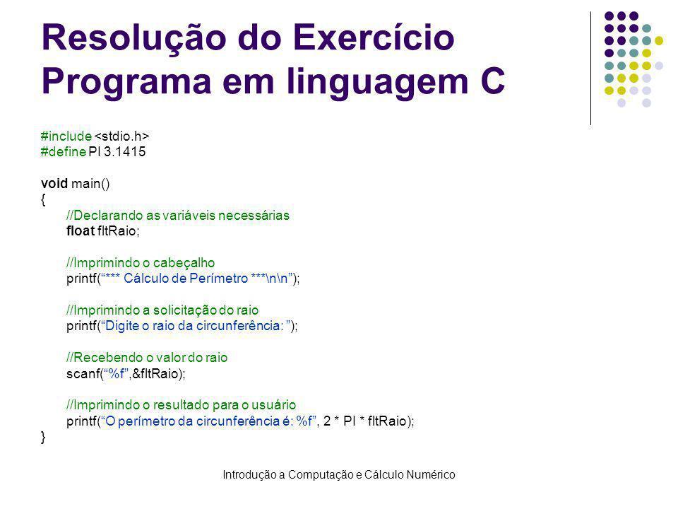 Resolução do Exercício Programa em linguagem C