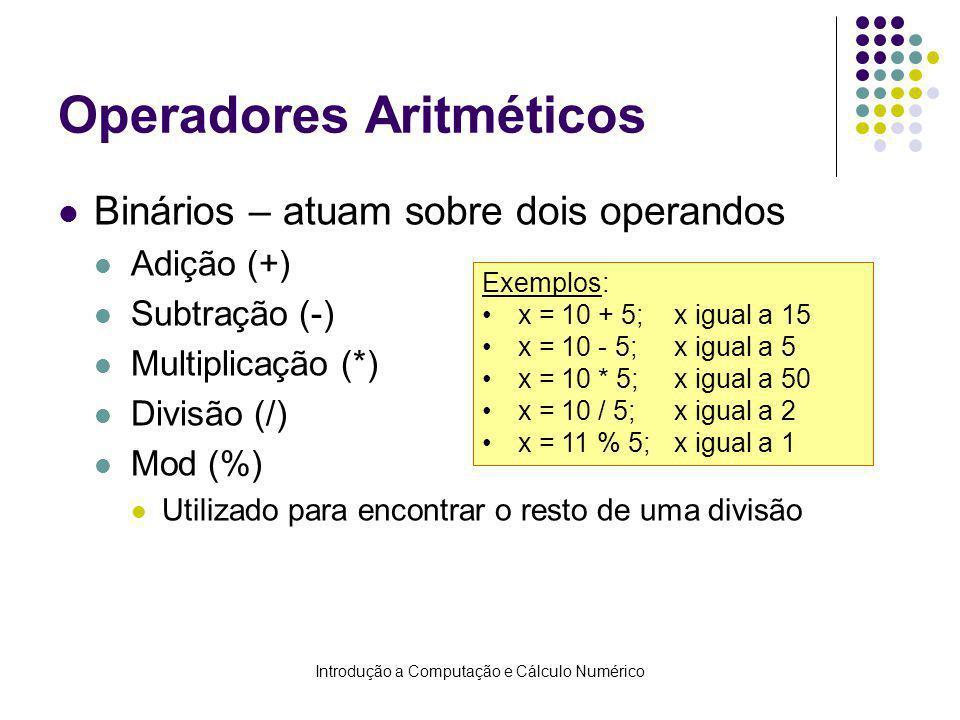 Operadores Aritméticos