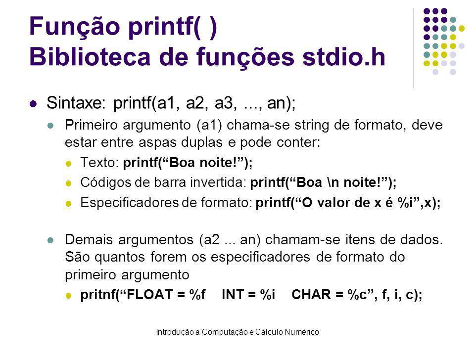 Função printf( ) Biblioteca de funções stdio.h