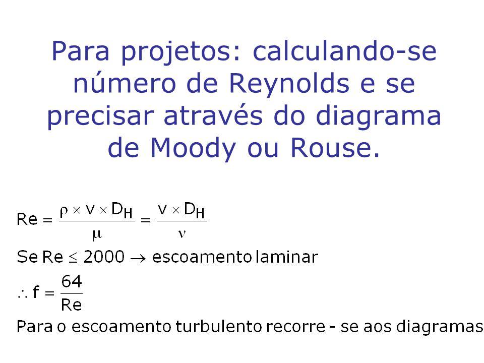 Para projetos: calculando-se número de Reynolds e se precisar através do diagrama de Moody ou Rouse.