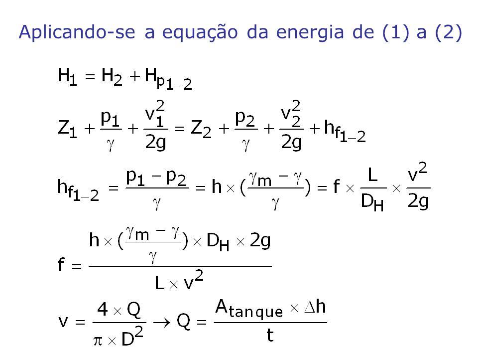 Aplicando-se a equação da energia de (1) a (2)