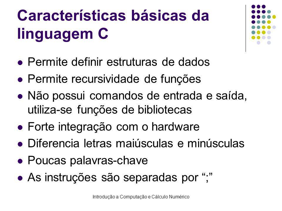 Características básicas da linguagem C