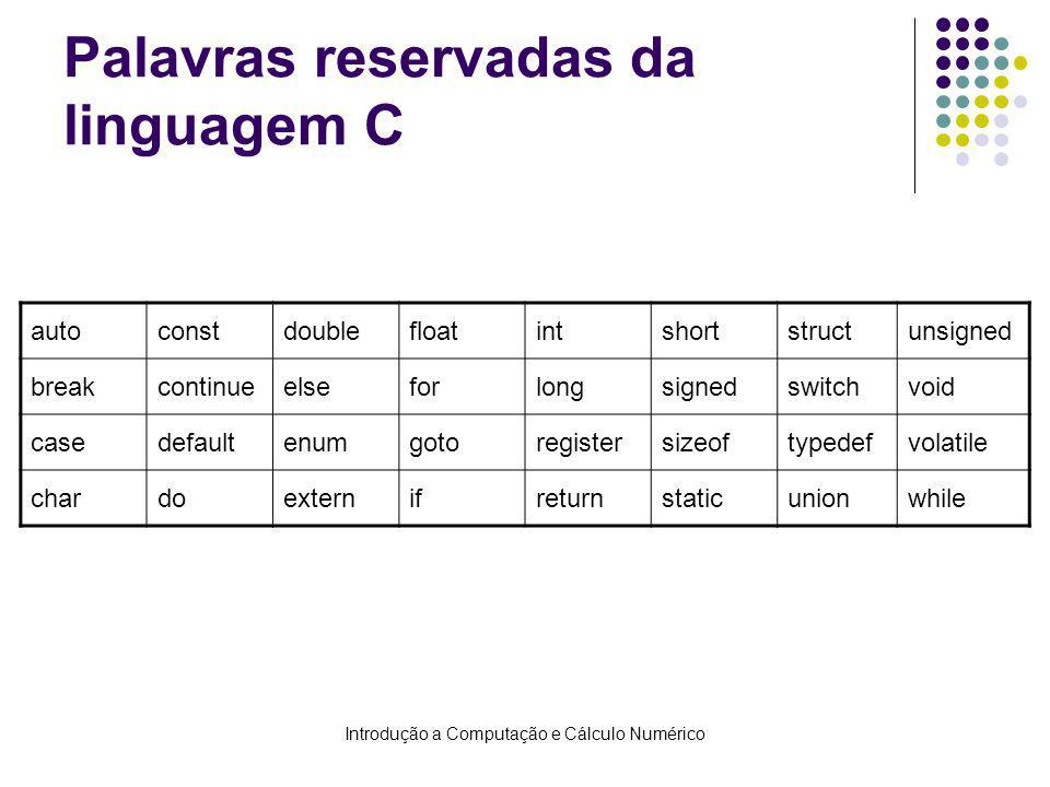 Palavras reservadas da linguagem C