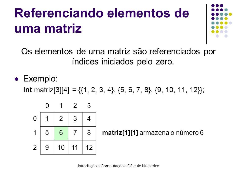 Referenciando elementos de uma matriz