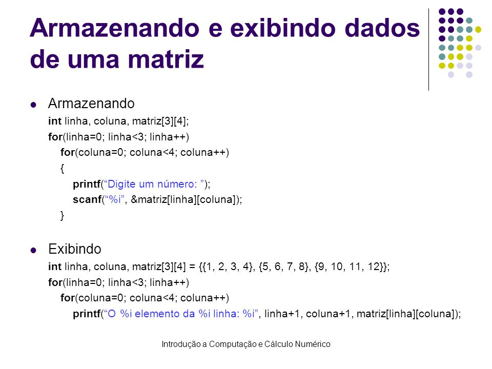 Armazenando e exibindo dados de uma matriz