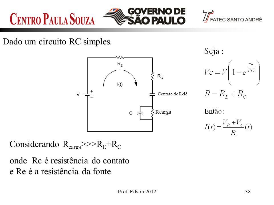 Dado um circuito RC simples.