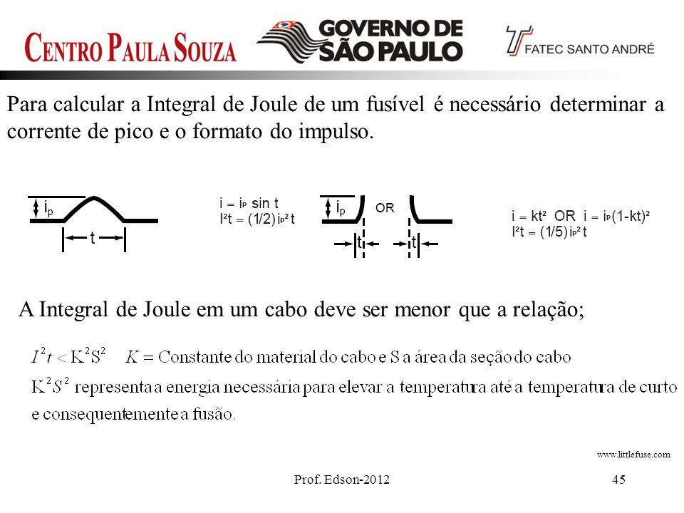 A Integral de Joule em um cabo deve ser menor que a relação;