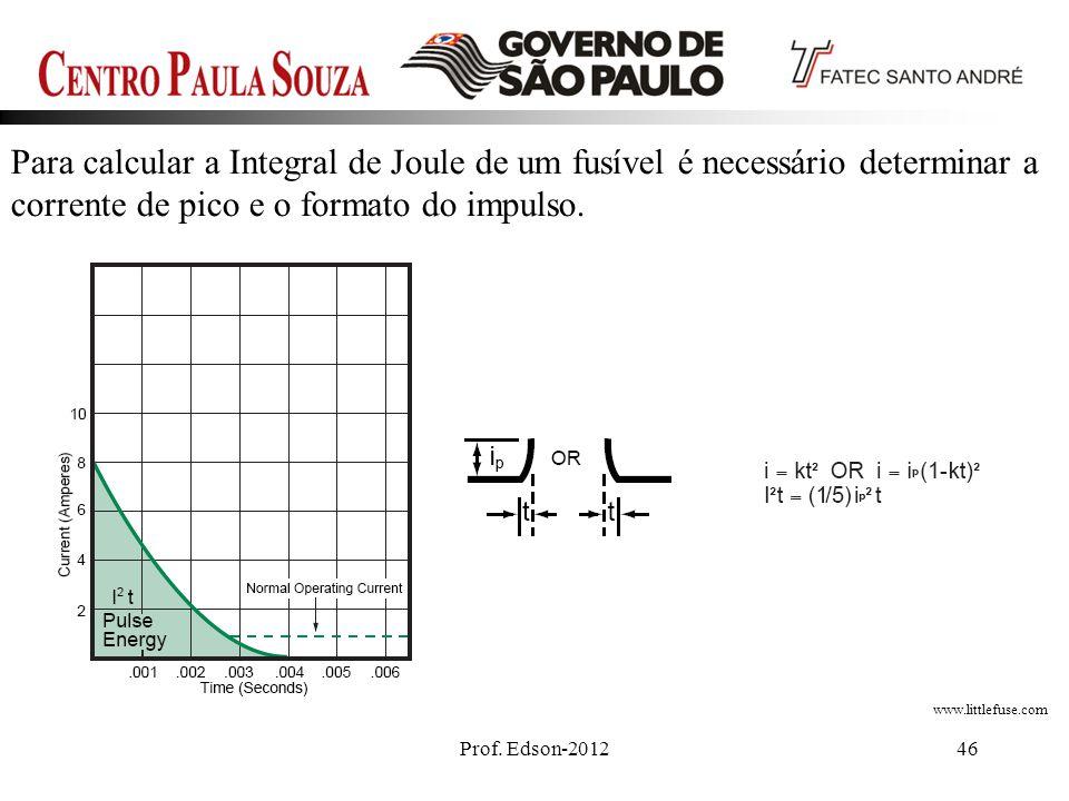 Para calcular a Integral de Joule de um fusível é necessário determinar a corrente de pico e o formato do impulso.
