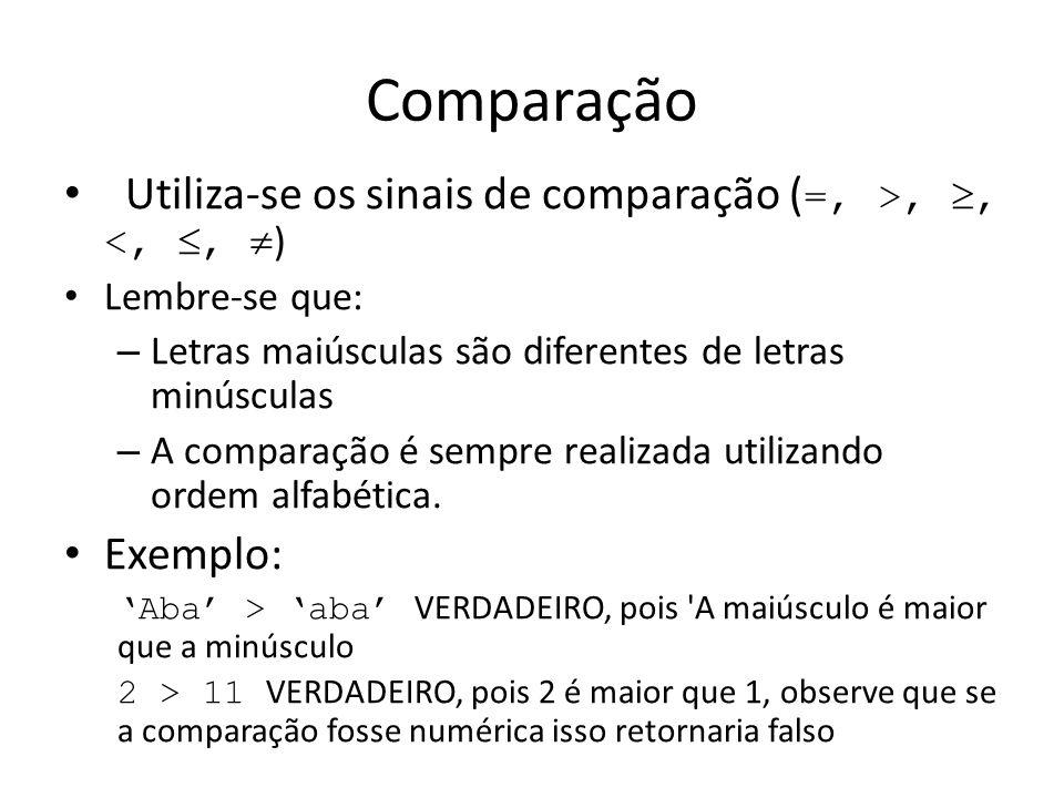 Comparação Utiliza-se os sinais de comparação (=, >, , <, , )