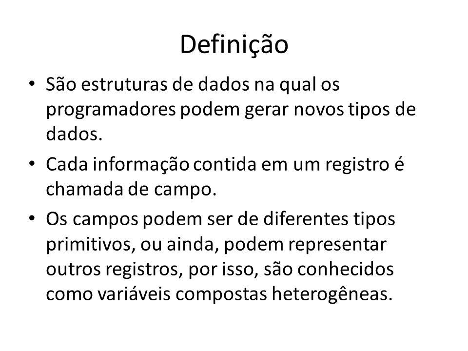 Definição São estruturas de dados na qual os programadores podem gerar novos tipos de dados.