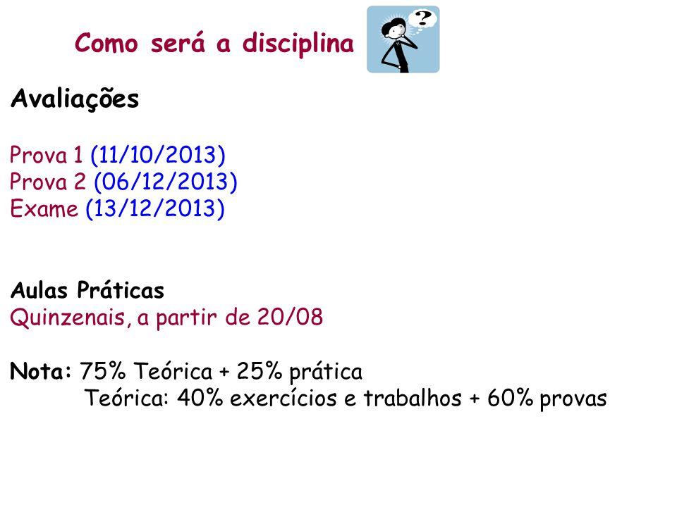 Como será a disciplina Avaliações Prova 1 (11/10/2013)