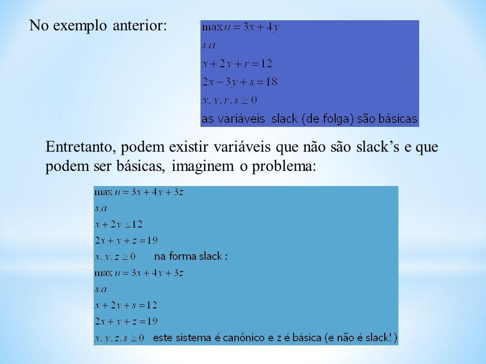 No exemplo anterior: Entretanto, podem existir variáveis que não são slack's e que podem ser básicas, imaginem o problema:
