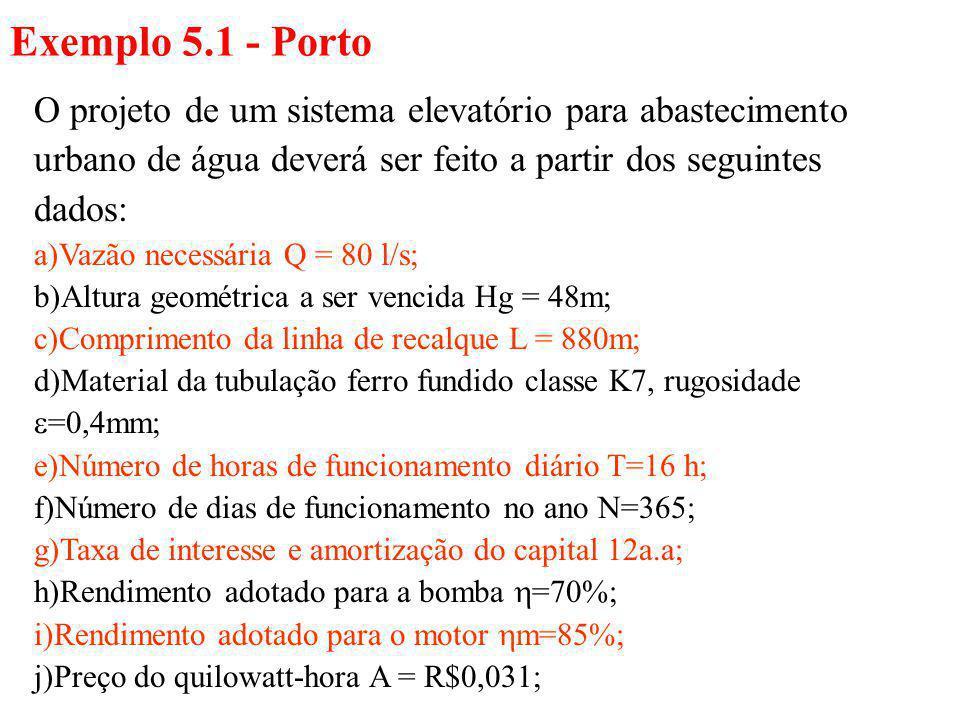 Exemplo 5.1 - Porto O projeto de um sistema elevatório para abastecimento urbano de água deverá ser feito a partir dos seguintes dados: