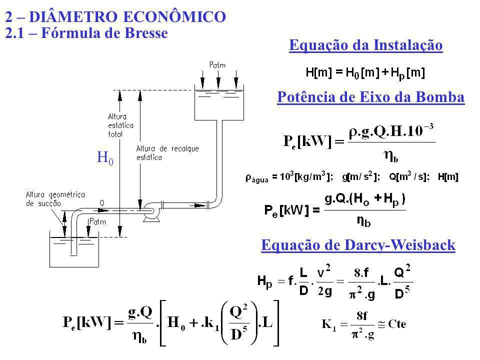 2 – DIÂMETRO ECONÔMICO 2.1 – Fórmula de Bresse. Equação da Instalação. Potência de Eixo da Bomba.