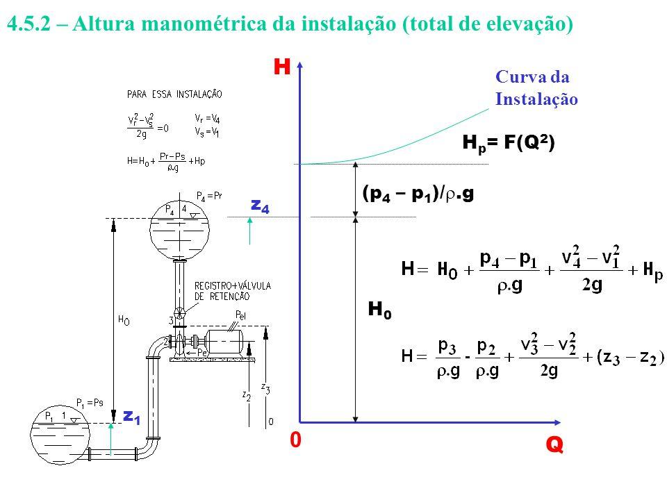 4.5.2 – Altura manométrica da instalação (total de elevação)