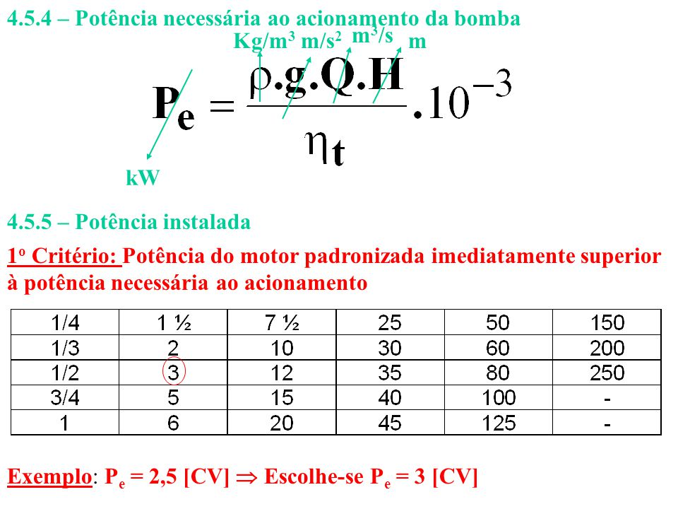 4.5.4 – Potência necessária ao acionamento da bomba