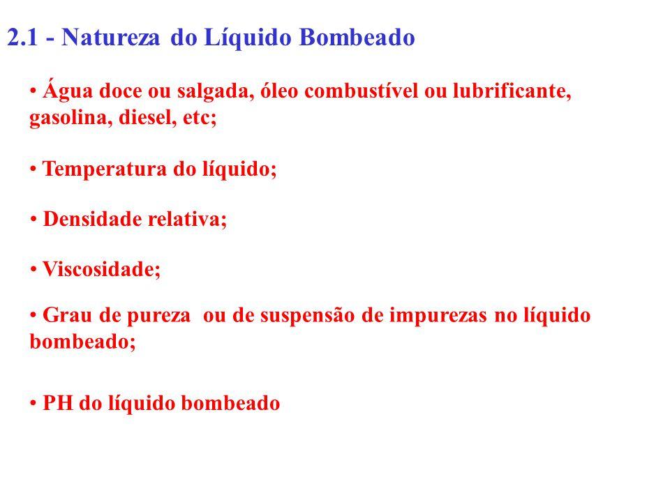 2.1 - Natureza do Líquido Bombeado