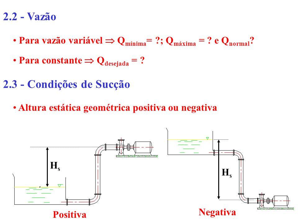 2.2 - Vazão 2.3 - Condições de Sucção