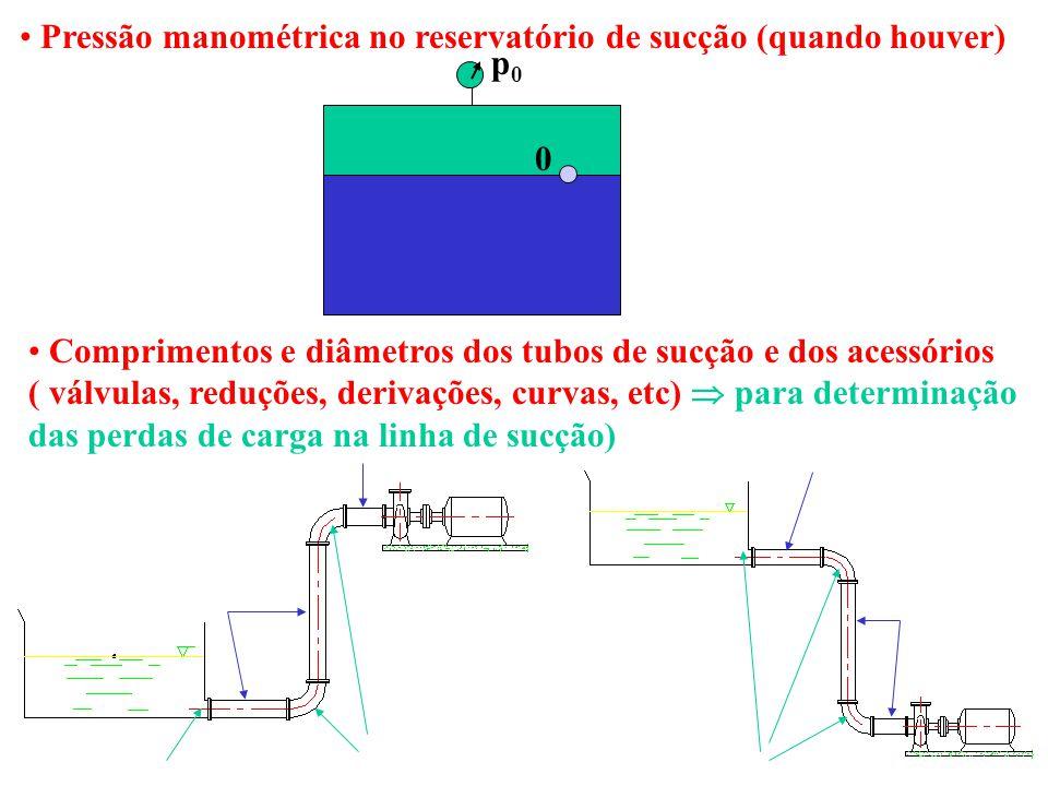 Pressão manométrica no reservatório de sucção (quando houver)