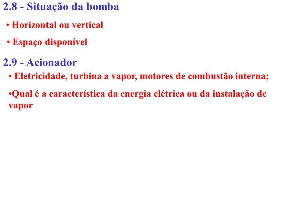 2.8 - Situação da bomba 2.9 - Acionador Horizontal ou vertical