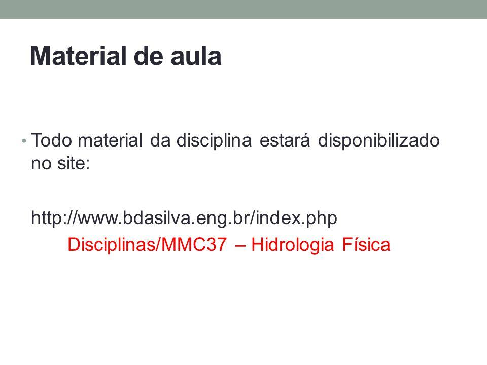 Material de aula Todo material da disciplina estará disponibilizado no site: http://www.bdasilva.eng.br/index.php.