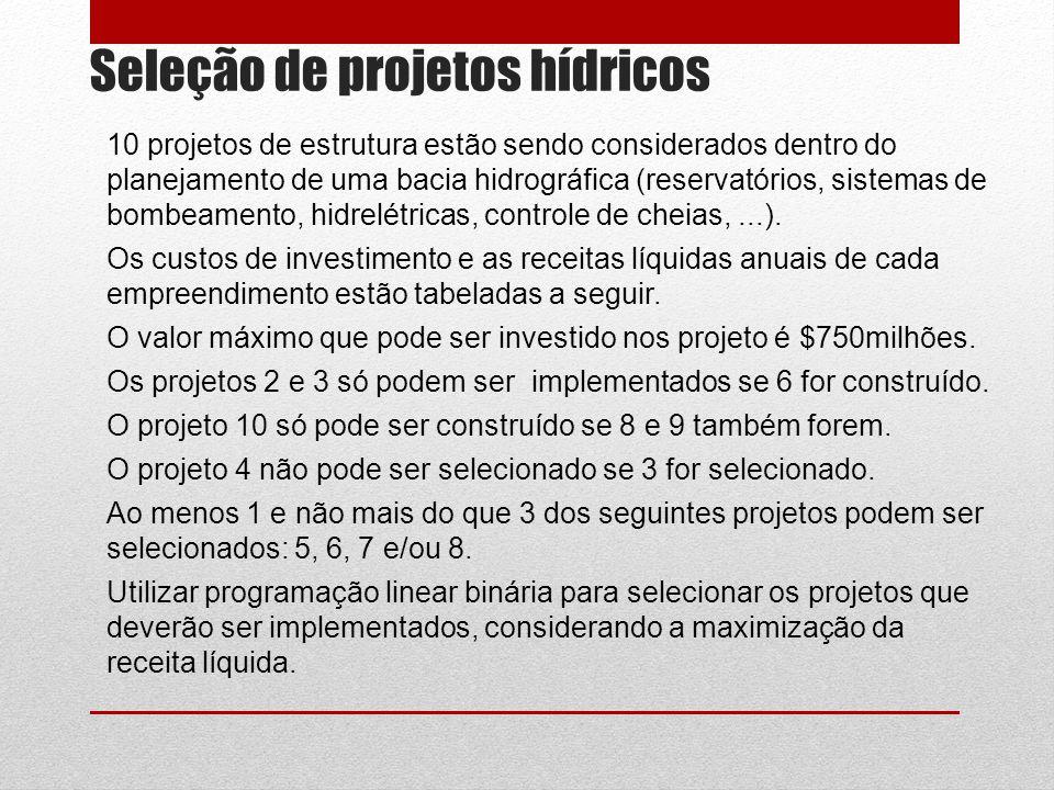 Seleção de projetos hídricos