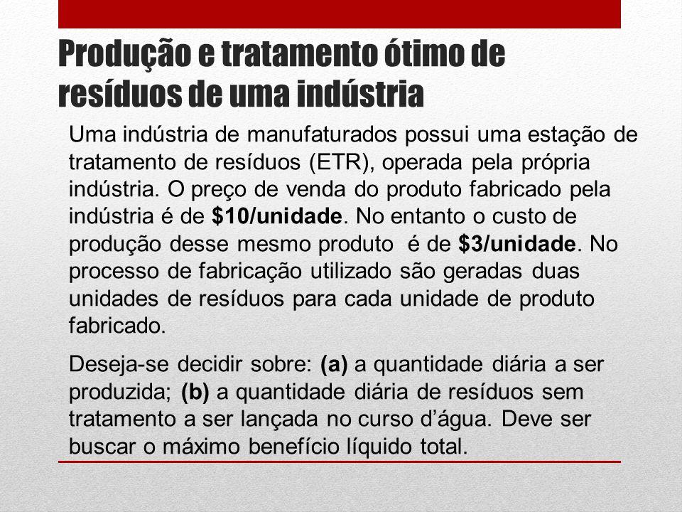 Produção e tratamento ótimo de resíduos de uma indústria