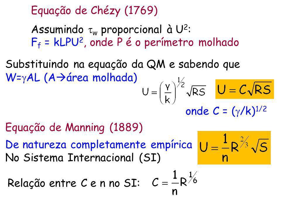 Equação de Chézy (1769) Assumindo tw proporcional à U2: Ff = kLPU2, onde P é o perímetro molhado.