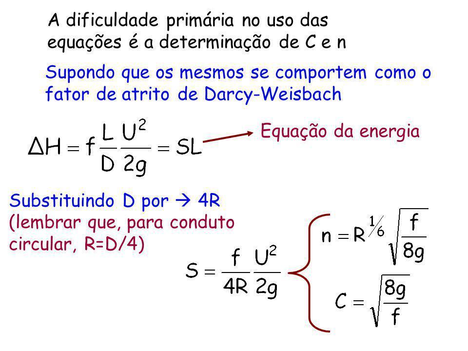 A dificuldade primária no uso das equações é a determinação de C e n