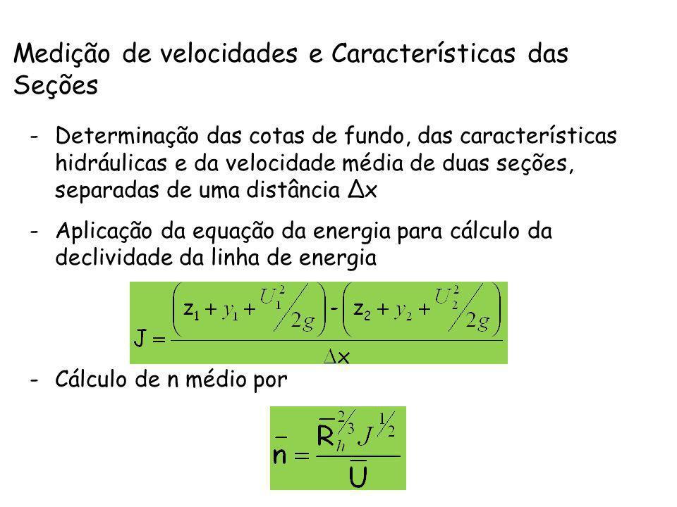 Medição de velocidades e Características das Seções