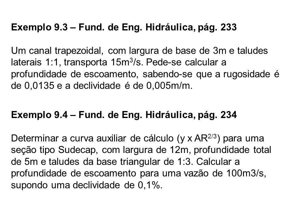 Exemplo 9.3 – Fund. de Eng. Hidráulica, pág. 233