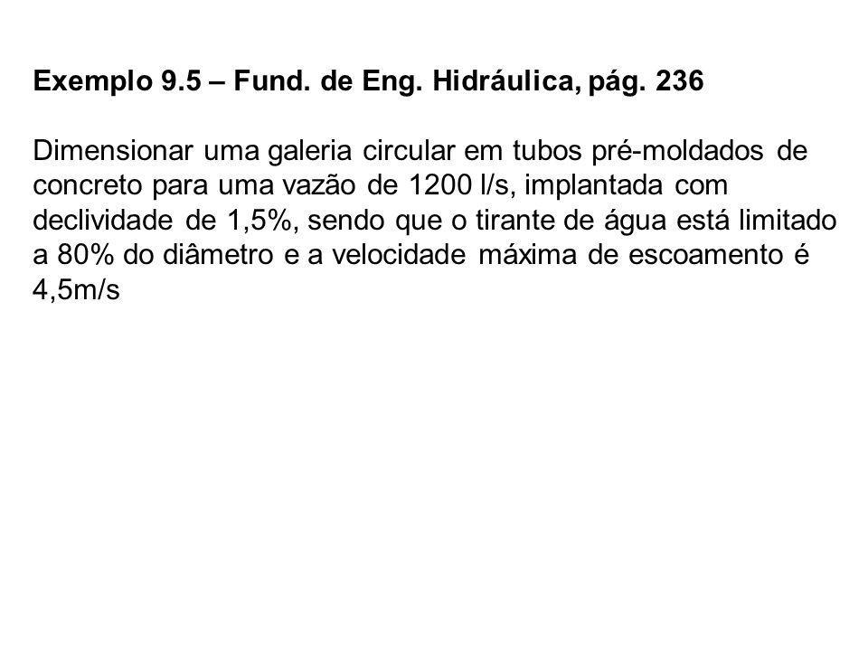Exemplo 9.5 – Fund. de Eng. Hidráulica, pág. 236