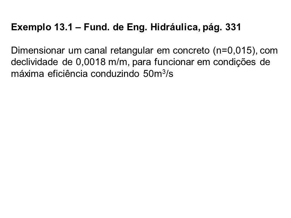 Exemplo 13.1 – Fund. de Eng. Hidráulica, pág. 331