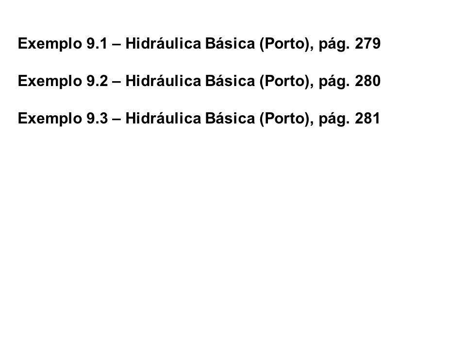 Exemplo 9.1 – Hidráulica Básica (Porto), pág. 279