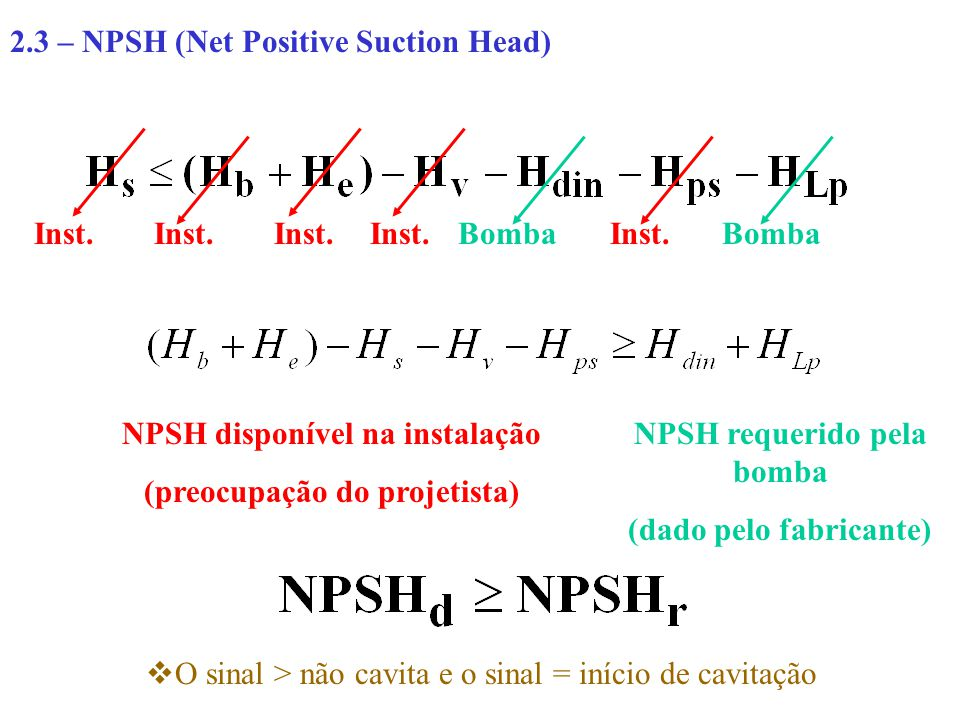 2.3 – NPSH (Net Positive Suction Head)