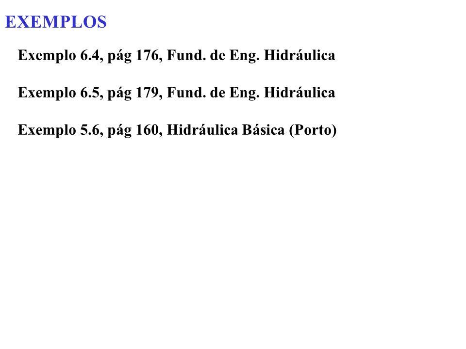 EXEMPLOS Exemplo 6.4, pág 176, Fund. de Eng. Hidráulica