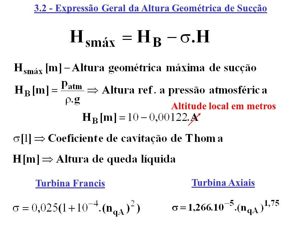 3.2 - Expressão Geral da Altura Geométrica de Sucção