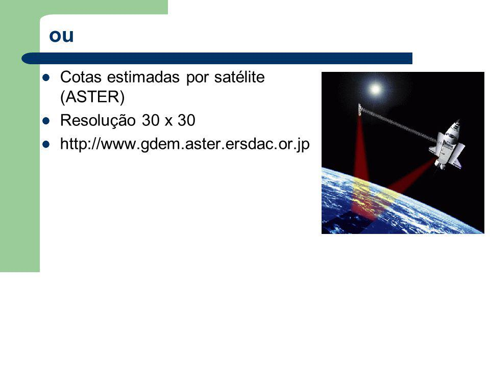 ou Cotas estimadas por satélite (ASTER) Resolução 30 x 30