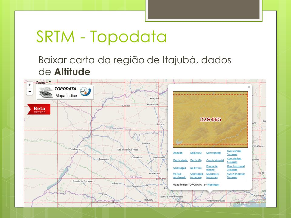 SRTM - Topodata Baixar carta da região de Itajubá, dados de Altitude