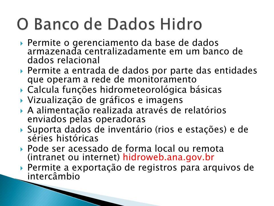 O Banco de Dados Hidro Permite o gerenciamento da base de dados armazenada centralizadamente em um banco de dados relacional.