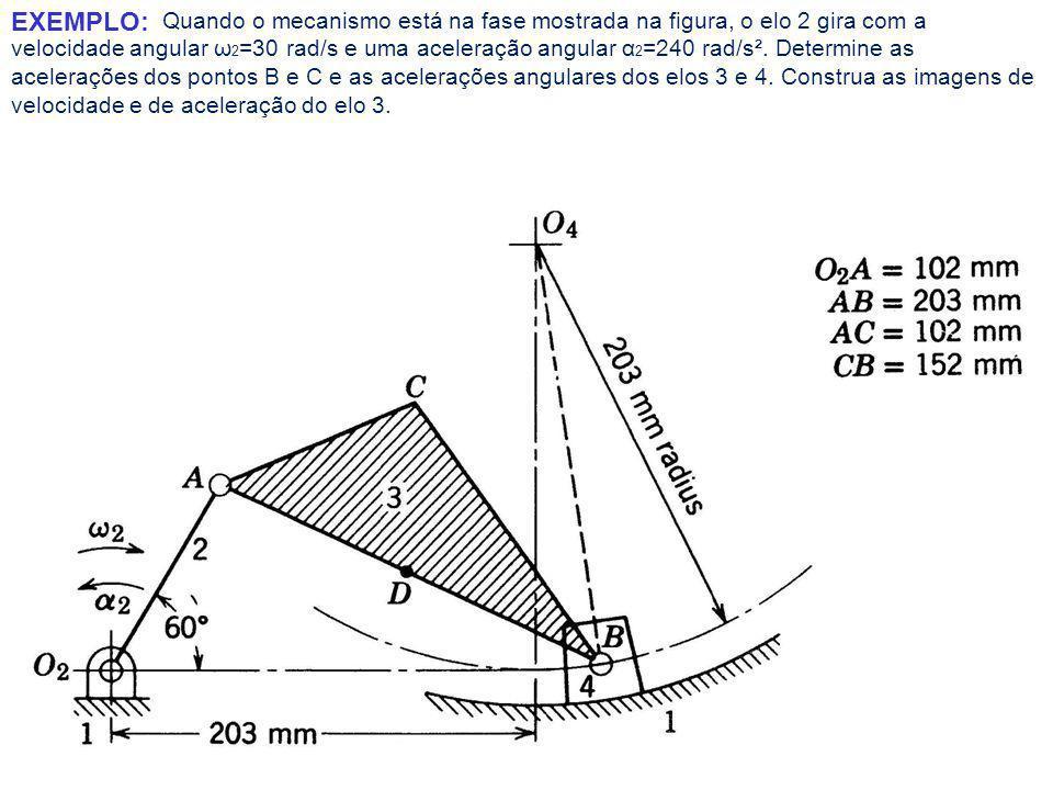 Quando o mecanismo está na fase mostrada na figura, o elo 2 gira com a velocidade angular ω2=30 rad/s e uma aceleração angular α2=240 rad/s². Determine as acelerações dos pontos B e C e as acelerações angulares dos elos 3 e 4. Construa as imagens de velocidade e de aceleração do elo 3.