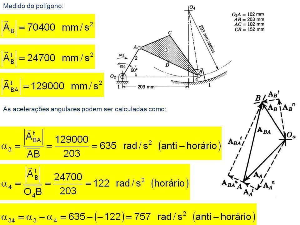 Medido do polígono: As acelerações angulares podem ser calculadas como: