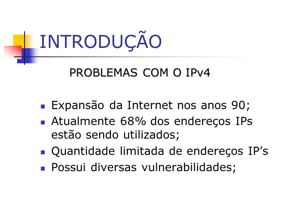 INTRODUÇÃO PROBLEMAS COM O IPv4 Expansão da Internet nos anos 90;