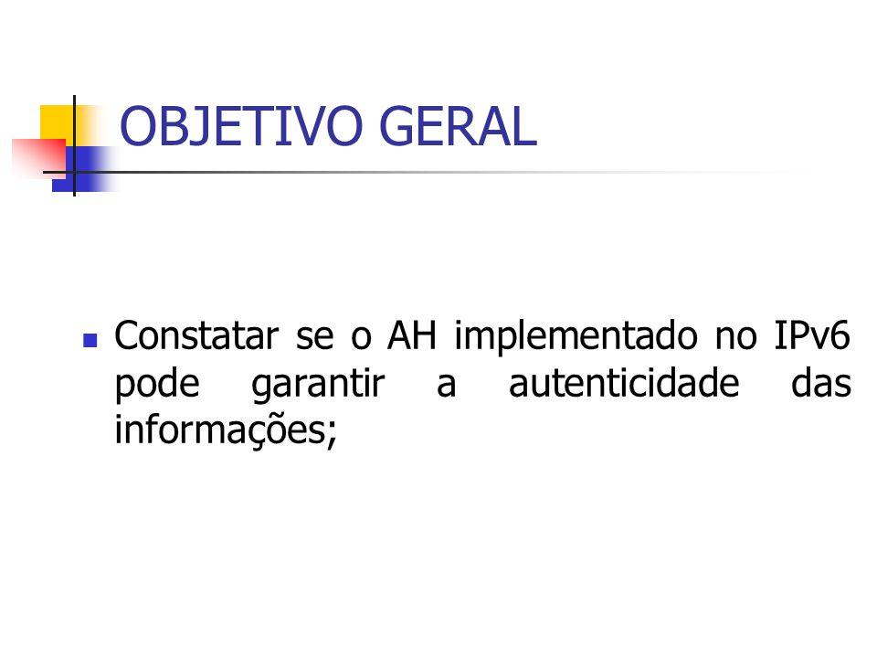 OBJETIVO GERAL Constatar se o AH implementado no IPv6 pode garantir a autenticidade das informações;